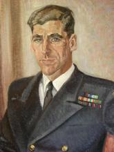 1955 - Detail of portrait by Elizabeth Tatchell Harrison, dated 1955. The painting is in the George Whalley Room in Watson Hall, Queen's Unviersity, Kingston. Photograph by Alicia Boutilier.